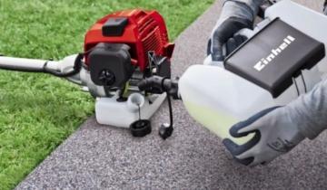 Einhell Benzin-Sense GH-BC 43 AS (1,25 kW, 42cm Schnittbreite Doppelfaden, 25,5cm Schnittbreite Messer, 3-Zahn-Messer, Tippautomatik, Quick Start, Anti-Vibration) -